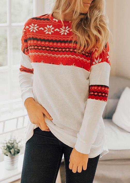 Christmas Snowflake Splicing T-Shirt Tee - White фото