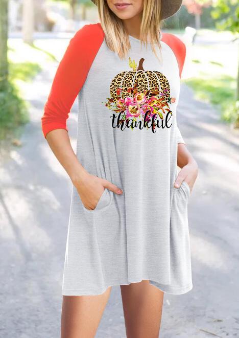 Floral Leopard Printed Thankful Pumpkin Pocket Mini Dress – Light Grey