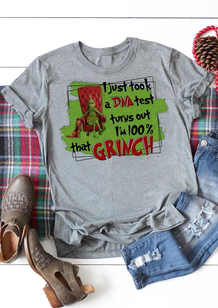 Christmas I'm 100% That Grinch T-Shirt Tee – Gray
