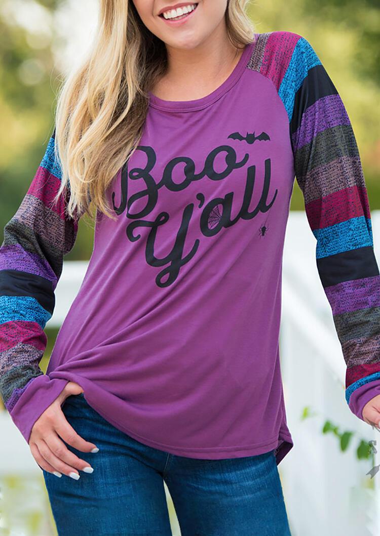 Tees_Tshirts_Boo_Yall_Bat_Colorful_Striped_Splicing_TShirt_Tee__Purple_Size_SMLXL