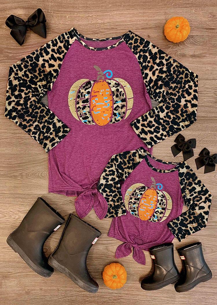 Mommy & Me Leopard Printed Pumpkin Tie T-Shirt Tee – Mommy