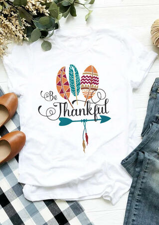 Thanksgiving Be Thankful Feather T-Shirt Tee - White