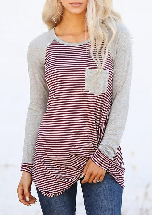 Striped Splicing O-Neck T-Shirt Tee