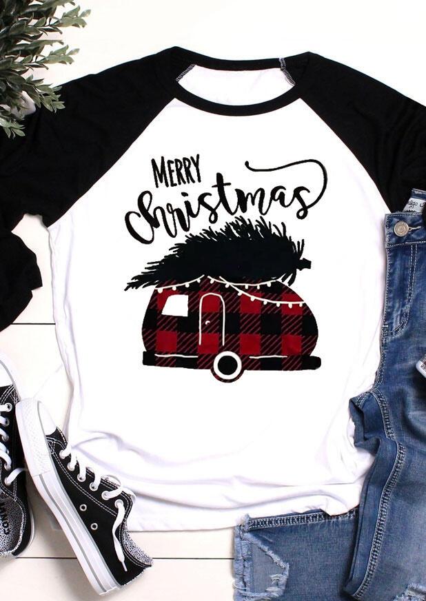 Merry Christmas Plaid Splicing Campervan T-Shirt Tee - White фото