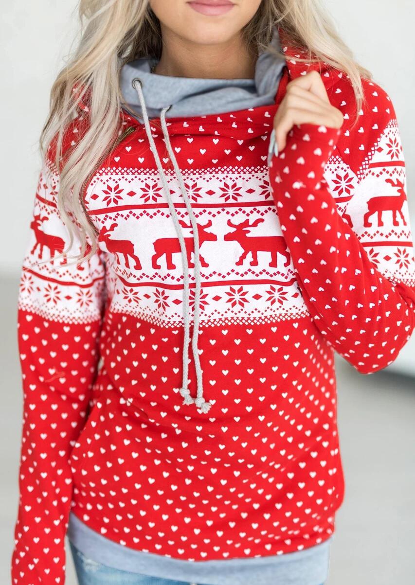 Christmas Reindeer Polka Dot Drawstring Hoodie – Red