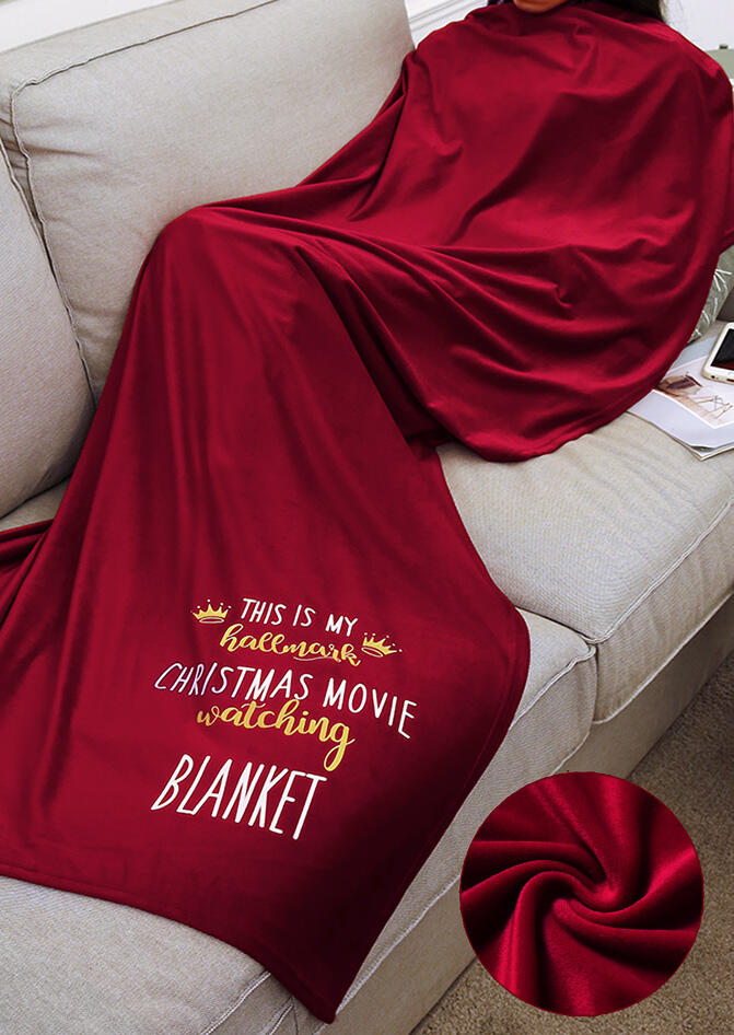 Thicken Velvet Warm My Hallmark Christmas Movie Watching Blanket - Burgundy, 455483