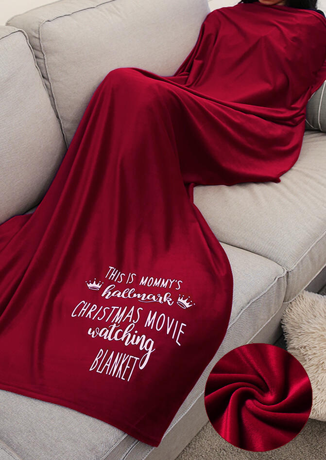 Thicken Velvet Warm Mommy's Hallmark Christmas Movie Watching Blanket - Burgundy, 455484