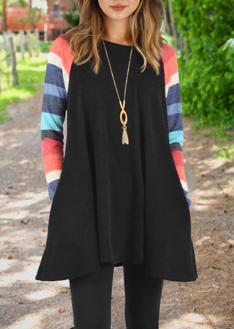 Color Block Splicing Mini Dress without Necklace – Black