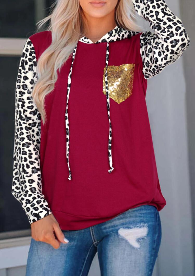 Leopard Printed Sequined Pocket Hoodie – Burgundy