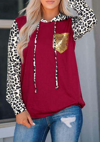 Leopard Printed Sequined Pocket Hoodie - Burgundy