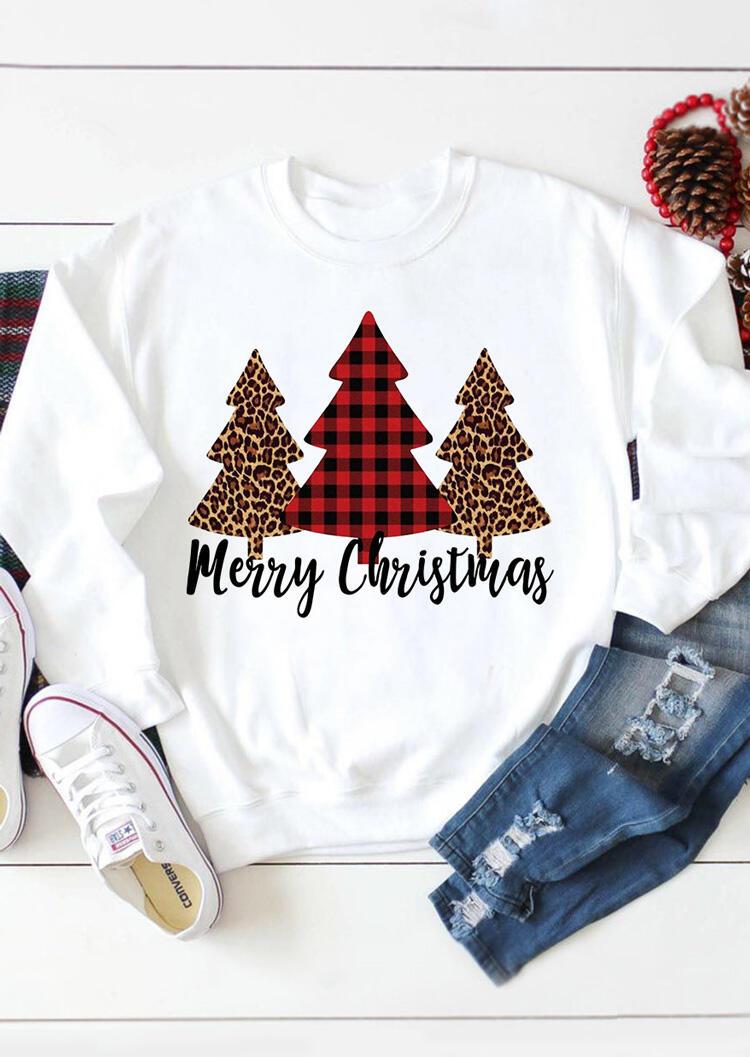 Merry Christmas Tree Leopard Plaid Printed Sweatshirt – White