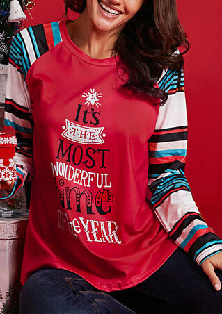 Striped Splicing It's The Most Wonderful Time Of The Year Christmas T-Shirt Tee - Red
