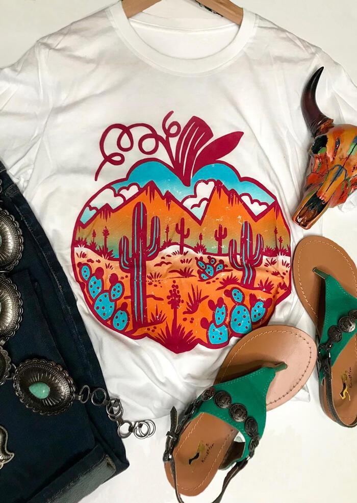 Cactus Printed Pumpkin O-Neck T-Shirt Tee – White