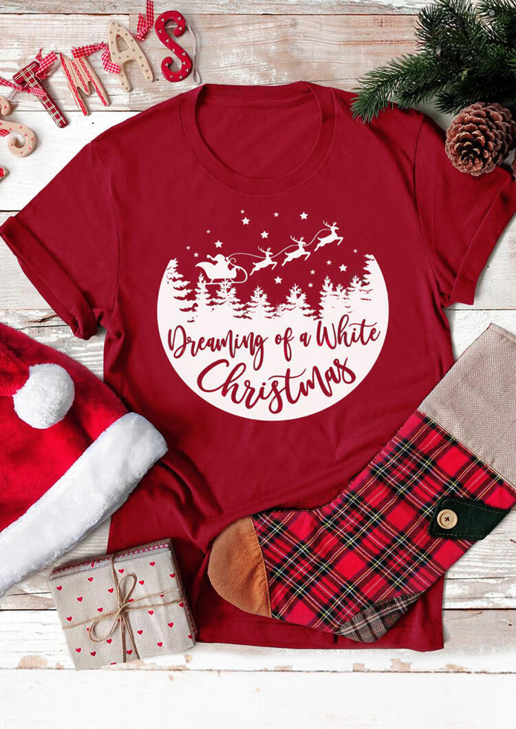 Dreaming Of A White Christmas T-Shirt Tee - Red фото