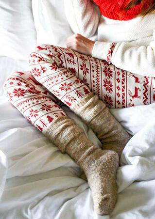 Christmas Reindeer Snowflake Printed Skinny Leggings - White