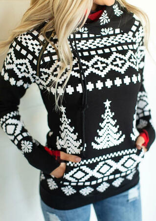 Christmas Geometric Printed Pocket Hoodie - Black