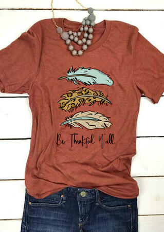 Be Thankful Y'all Feathers T-Shirt Tee - Brick Red