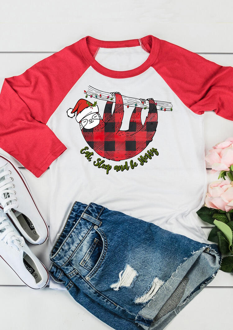 Plaid Eat Sleep And Be Merry T-Shirt Tee – Red