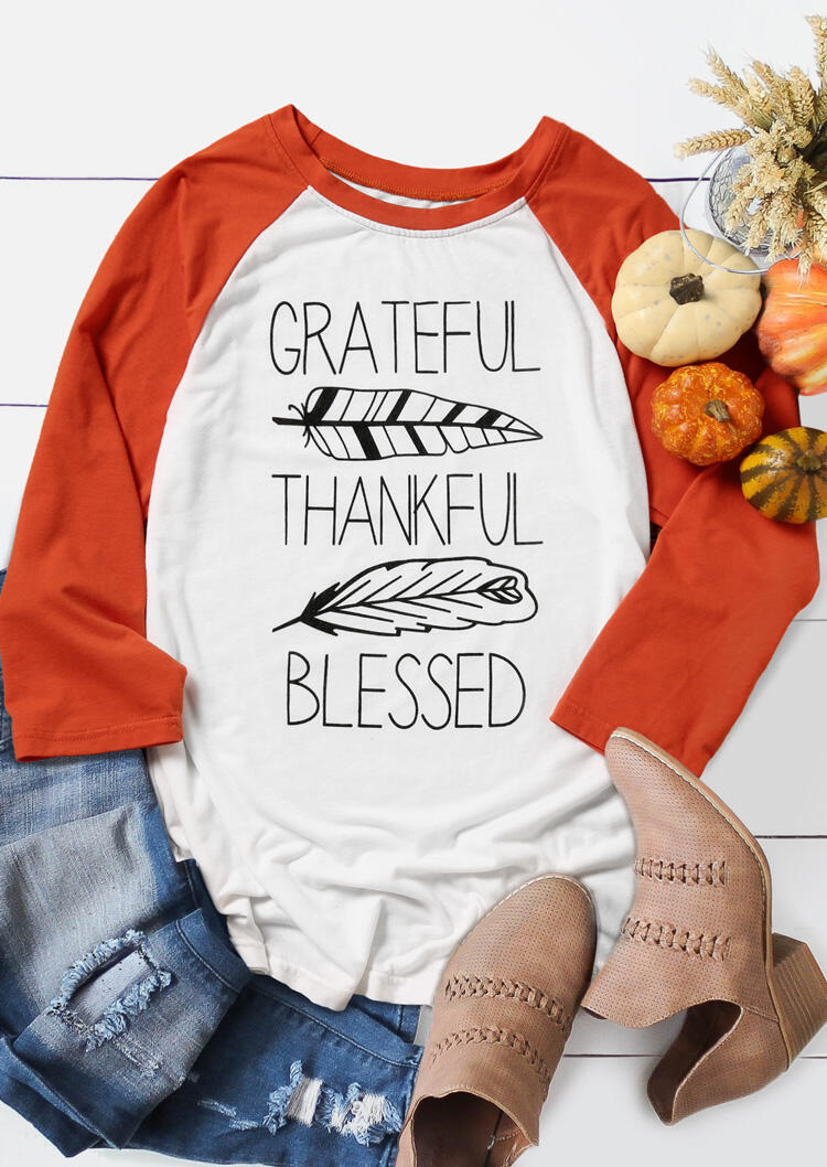 Grateful Thankful Blessed Feather T-Shirt Tee – White