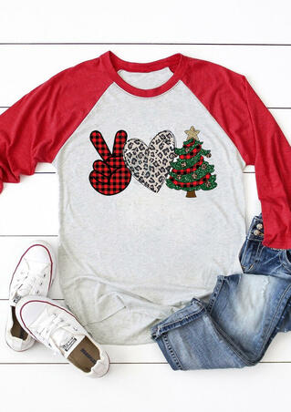 Victory Gesture Love Christmas Tree T-Shirt Tee - Light Grey