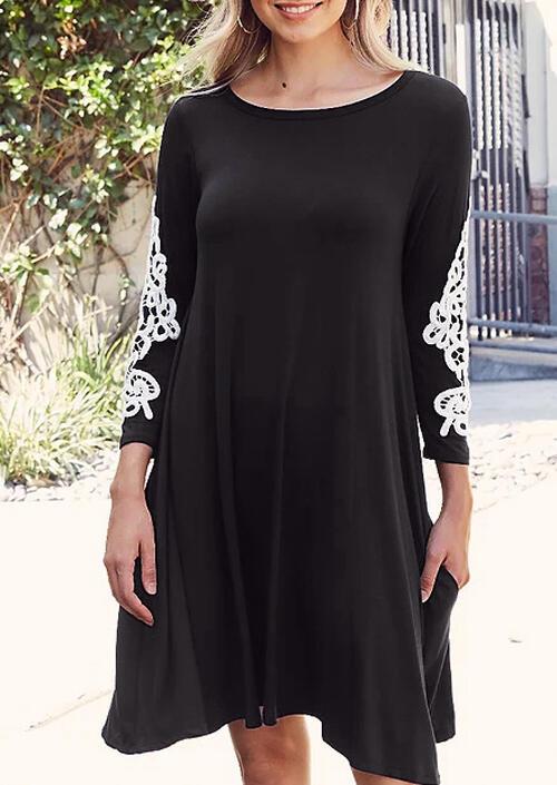 Lace Splicing O-Neck Mini Dress – Black
