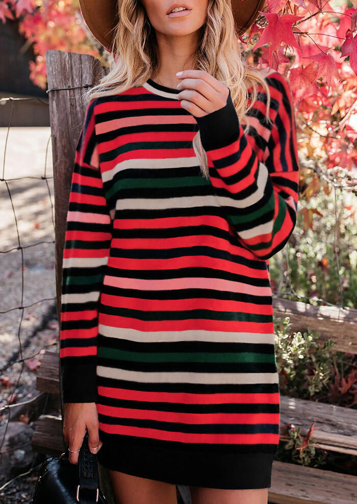 Striped Splicing O-Neck Mini Dress