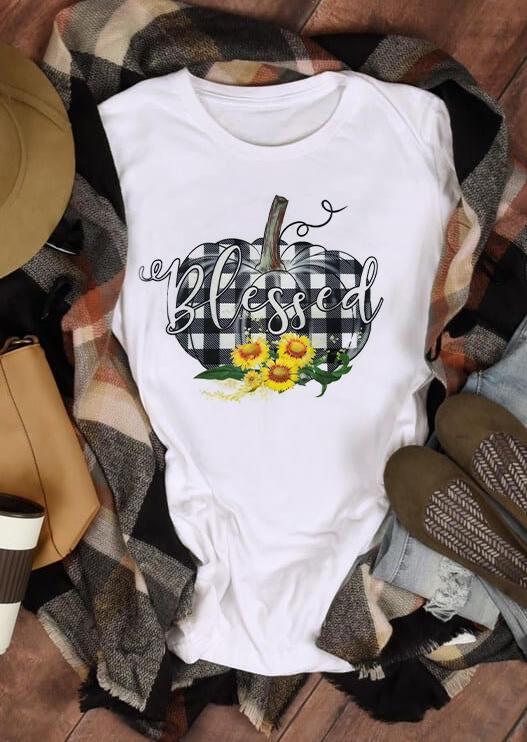Plaid Splicing Blessed Pumpkin Sunflower T-Shirt Tee – White