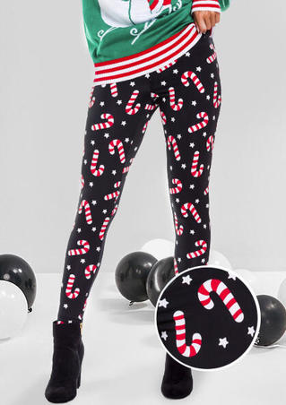 Christmas Colorful Cane Star Leggings