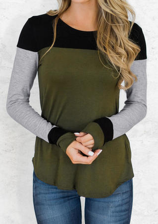Color Block Long Sleeve T-Shirt Tee - Army Green