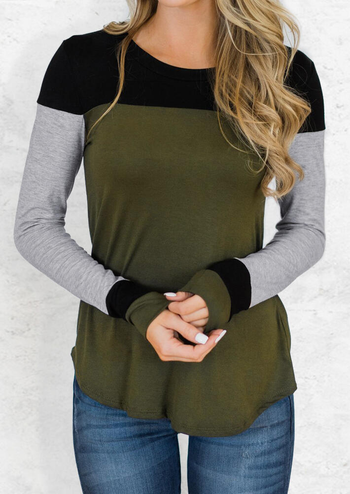 Tees T-shirts Color Block Long Sleeve T-Shirt Tee in Army Green. Size: S,M,L,XL фото