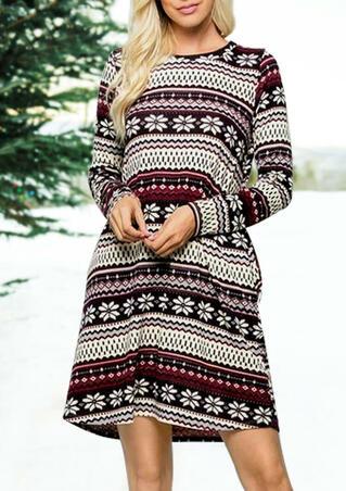Striped Splicing Christmas Snowflake Pocket Mini Dress