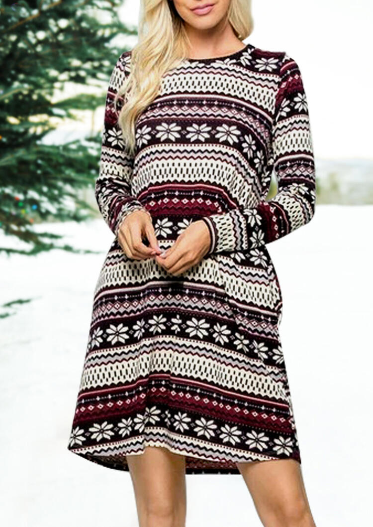 Mini Dresses Striped Splicing Christmas Snowflake Pocket Mini Dress in Stripe. Size: S,M,L,XL фото