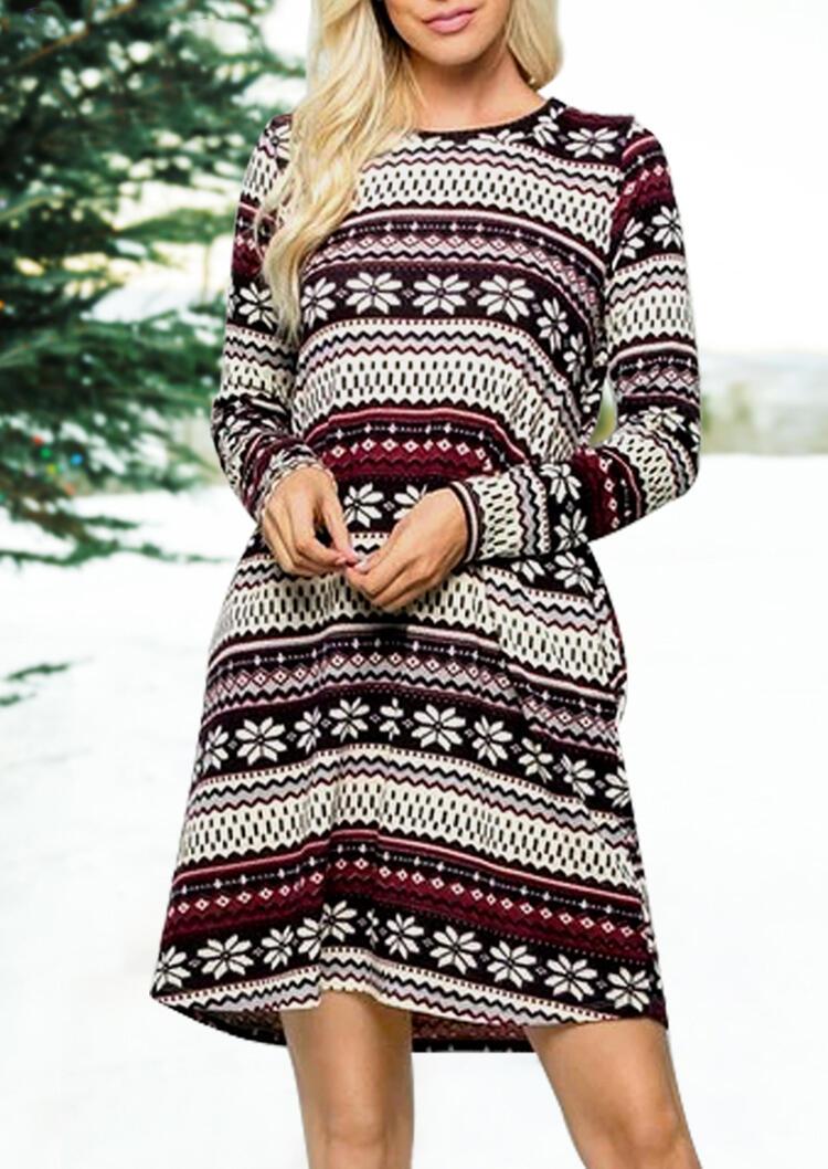 Striped Splicing Christmas Snowflake Pocket Mini Dress фото