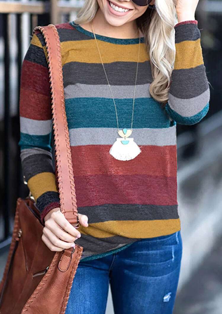 Colour Color Block Striped Long Sleeve O-Neck T-Shirt in Multicolor. Size: S,M,L,XL фото