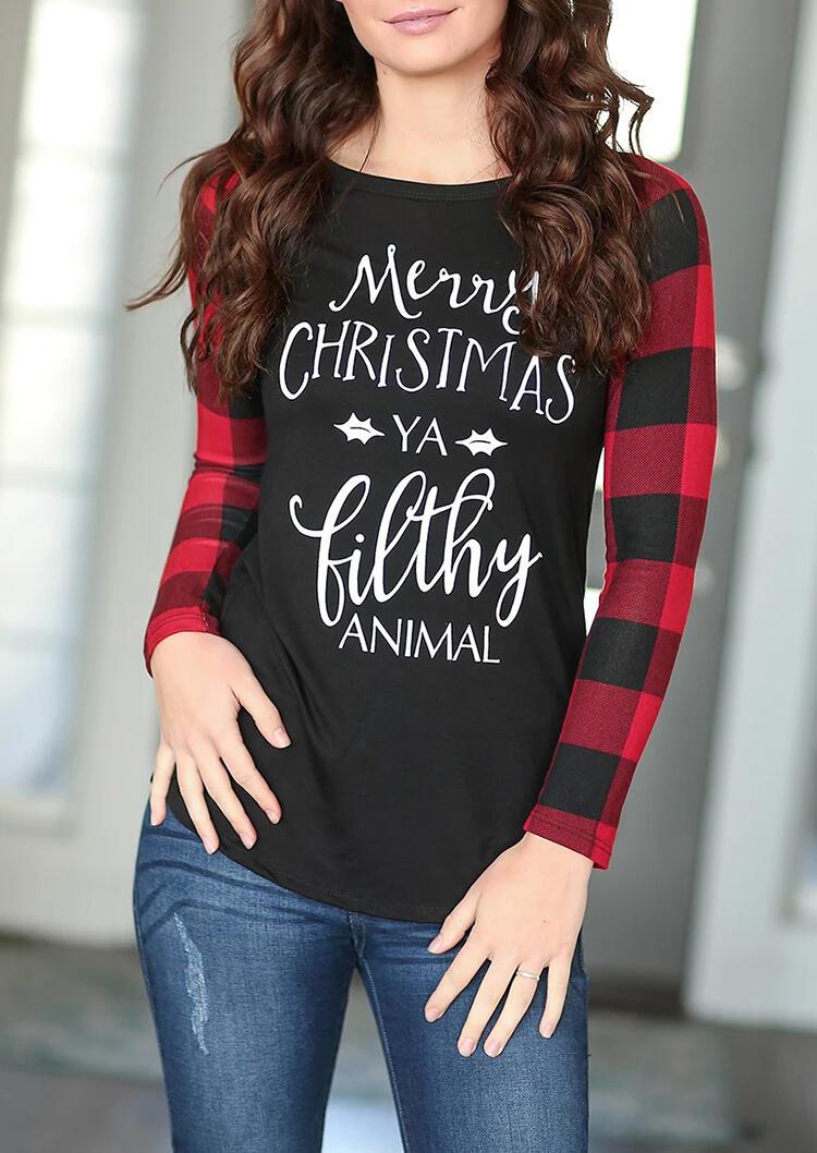 Merry Christmas Ya Filthy Animal Plaid Splicing T-Shirt Tee – Black