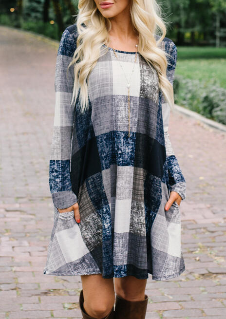 Mini Dresses Plaid Pocket Long Sleeve Mini Dress without Necklace. Size: S фото