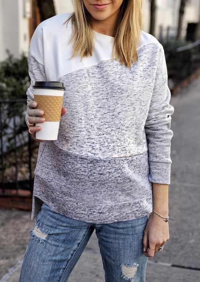 Color Block Long Sleeve Sweatshirt – Gray