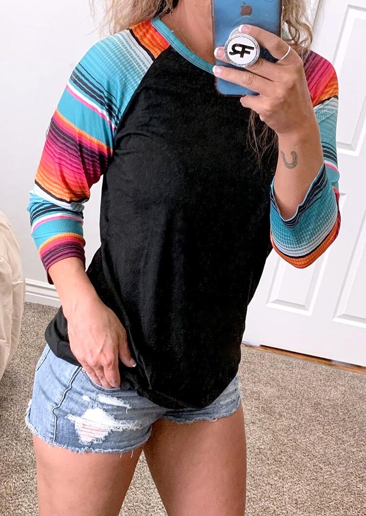 Colorful Serape Striped O-Neck Blouse - Black фото