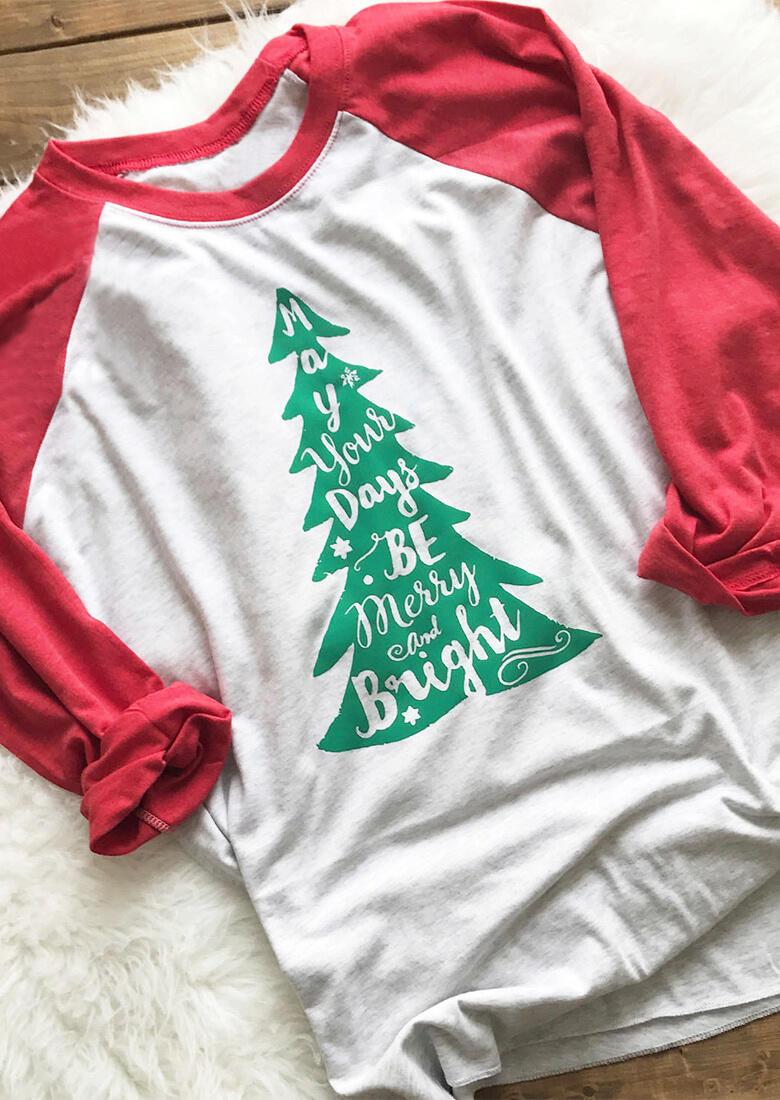 Christmas Tree Letter Printed T-Shirt