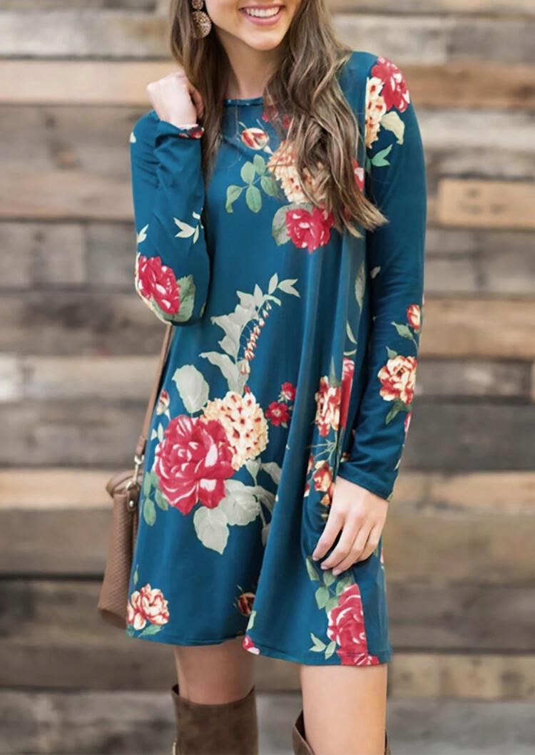 Floral Pocket Long Sleeve Mini Dress – Cyan