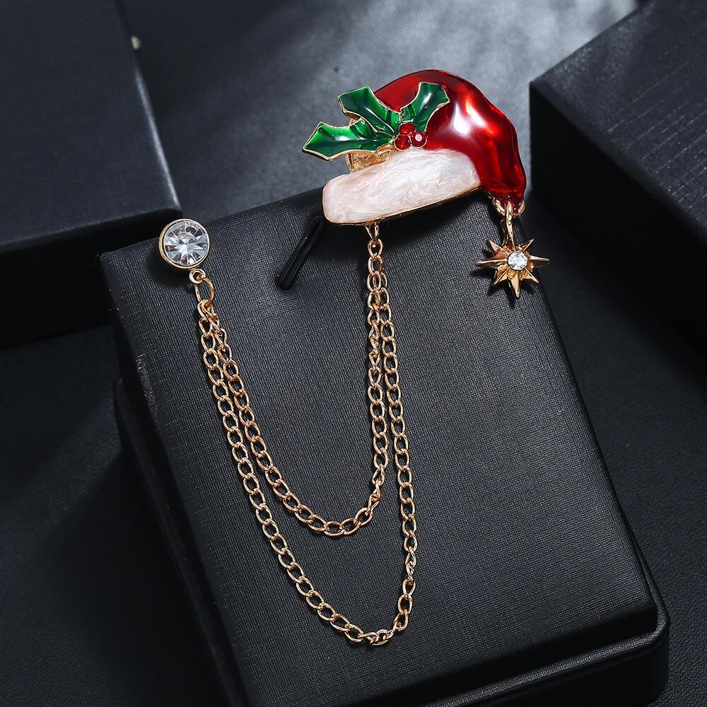 Christmas Hat Rhinestone Collar Chain Brooch