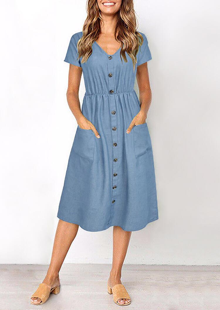 Solid Button V-Neck Denim Casual Dress - Light Blue, Lightblue, 456193