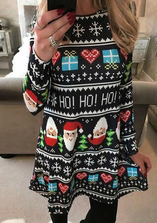 Christmas Tree Snowflake Santa Claus Mini Dress - Black