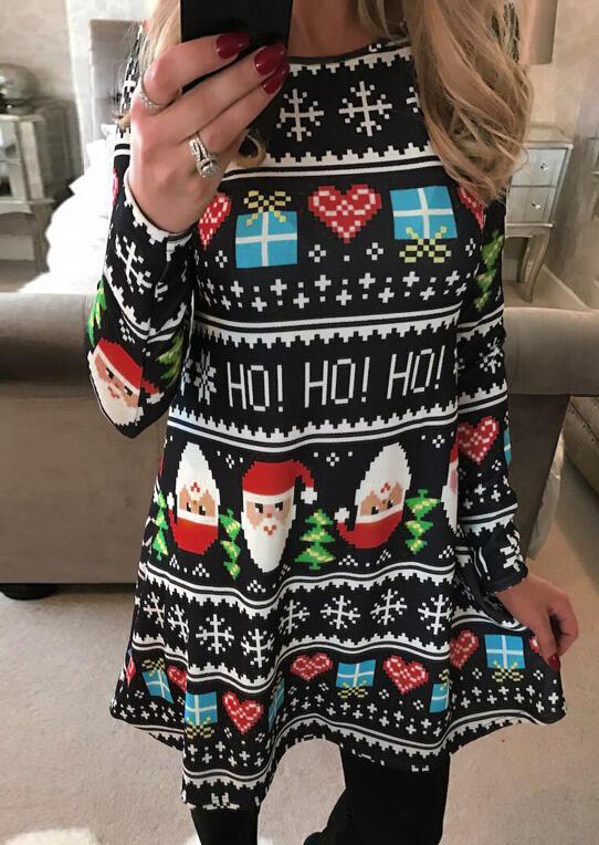 Christmas Tree Santa Snowman Mesh Casual Dress Fairyseason