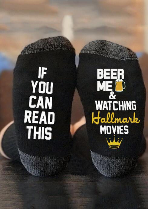 Beer Me & Watching Hallmark Movies Socks