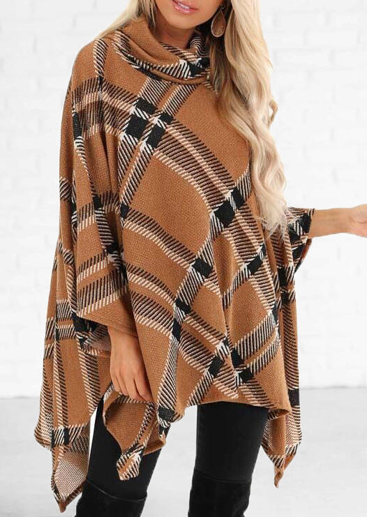 Plaid Splicing Asymmetric Cardigan – Light Brown