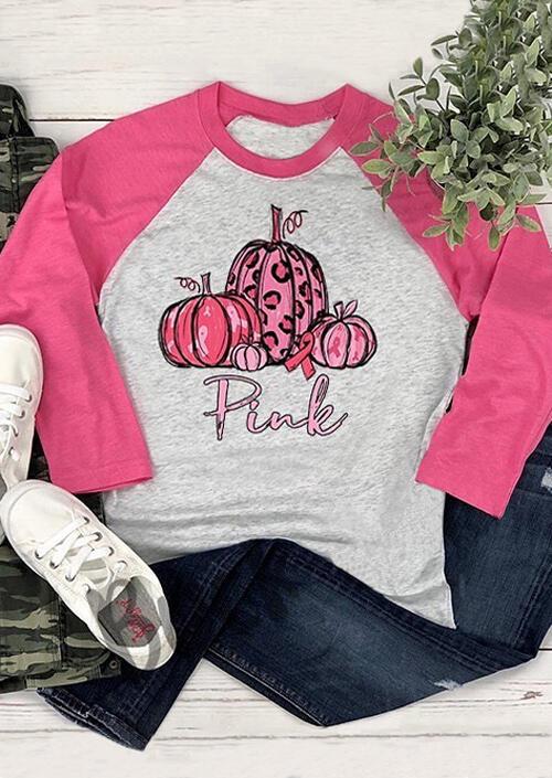 Pink Pumpkin T-Shirt Tee – Light Grey
