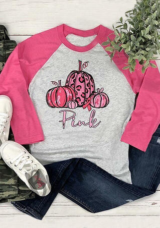 Pink Pumpkin T-Shirt Tee - Light Grey
