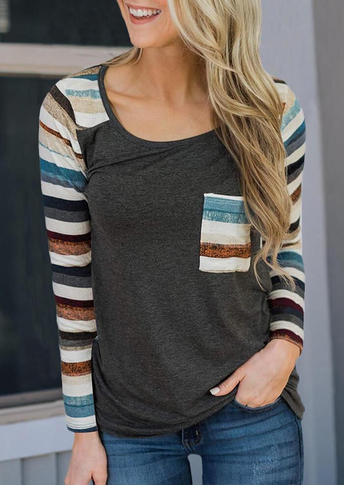 Striped Splicing Pocket T-Shirt Tee – Gray