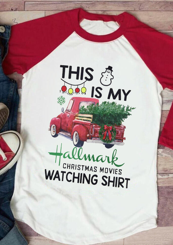 Hallmark Christmas Movies Watching Shirt Baseball T-Shirt Tee, White, 428177